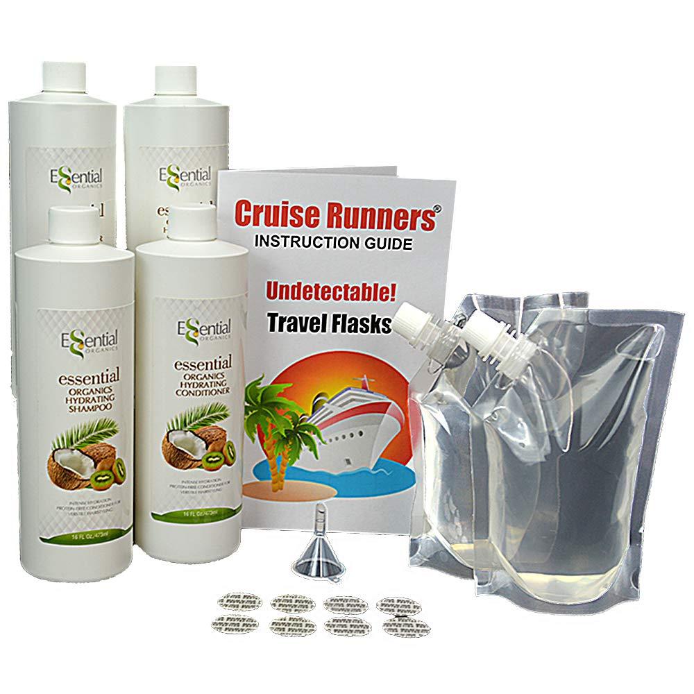 CRUISE RUNNERS フェイクシャンプー&コンディショナー 隠れたリキュールアルコールフラスコ クルーズ用クリアポーチバッグ ラムランナーを楽しんでください   B07GQBCHLT