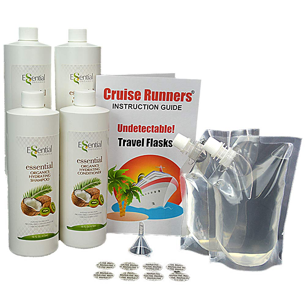 Fake Shampoo & Conditioner By CRUISE RUNNERS Hidden Liquor Alcohol Flasks For Cruise | Clear Booze Bags Enjoy Rum Runners