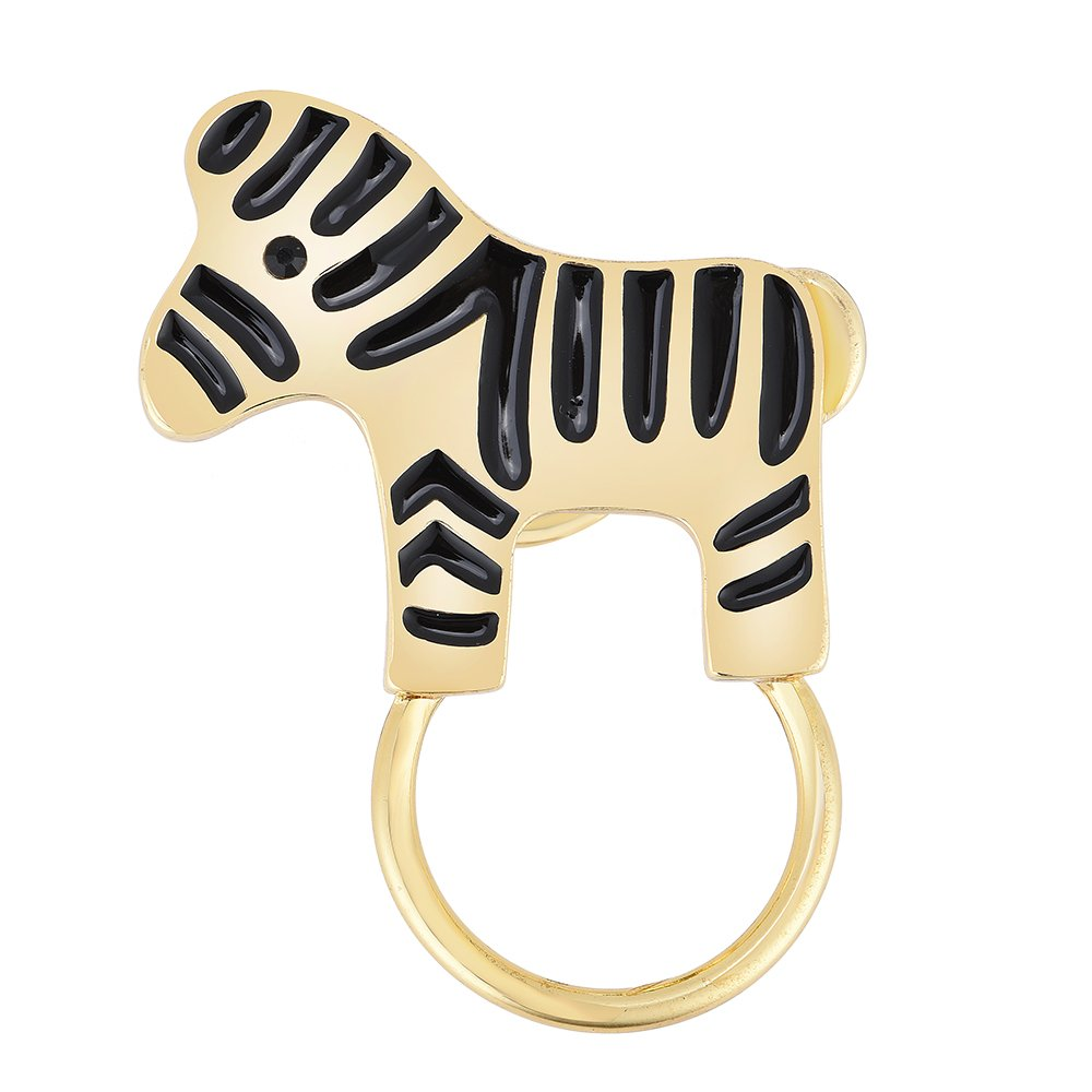 TUSHUO Simple 3 Colors Black Striped Horse Zebra Magnetic Eyeglass Holder Brooch (Gold)