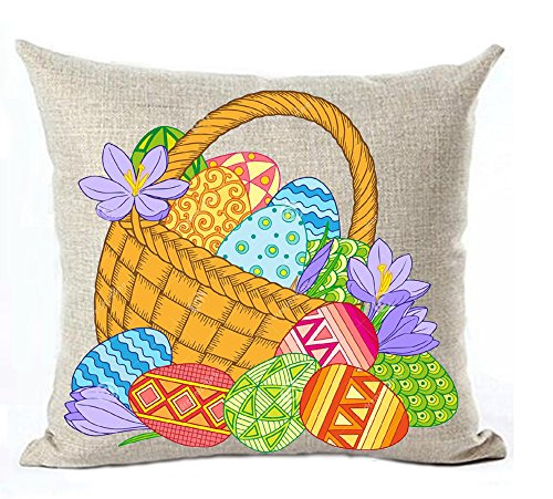 Happy Easter watercolor flowers basket plant colorful eggs Throw Pillow Covers Cushion Cover Decorative Home Bedroom Square 18 Inches