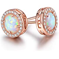 Barzel 18K Rose Gold Plated or White Gold Plated Created Opal Halo Stud