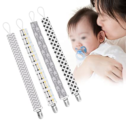 4pcs Clips Del Chupete Del Bebé Correa De Algodón Universal Infantil Regalo De La Ducha De Bebé Para Niños Niñas