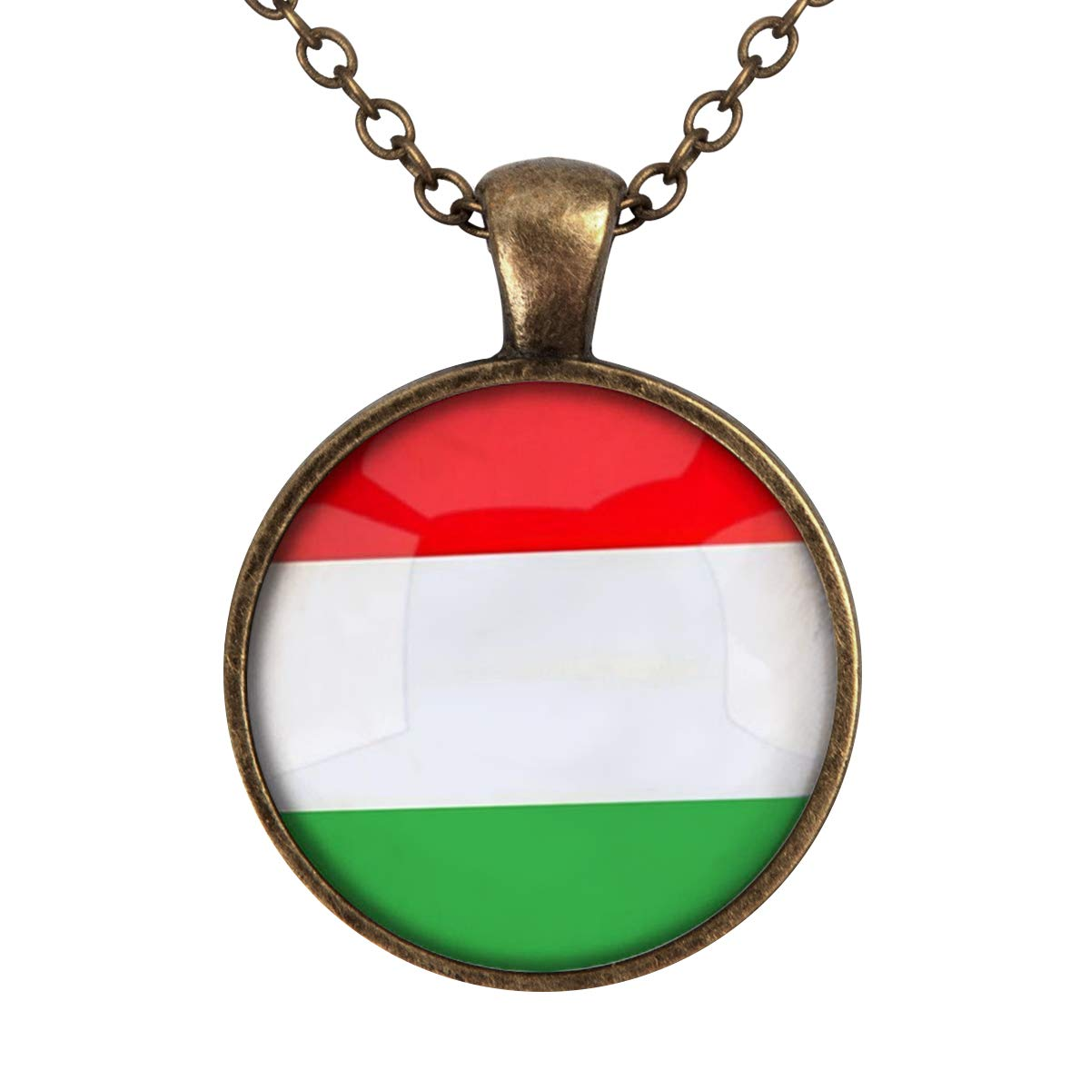 Family Decor The Hungary National Flag Pendant Necklace Cabochon Glass Vintage Bronze Chain Necklace Jewelry Handmade