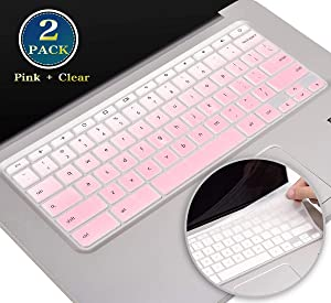 """2 Pack HP Chromebook 11 Keyboard Skin, Silicone Keyboard Cover for HP Chromebook 14 G2 G3 G4 G5 Series/Chromebook 14-ak 14-ca 14-db 14-X Series, Chromebook x360 11.6""""(Ombre Pink+Clear)"""