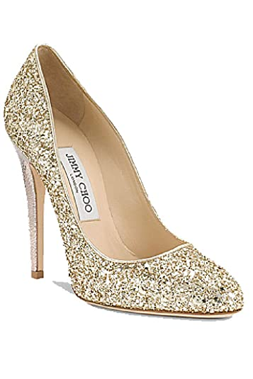 95b8c2013dc Amazon.com | JIMMY CHOO 124 Victoria Gold Glitter Pumps | Pumps