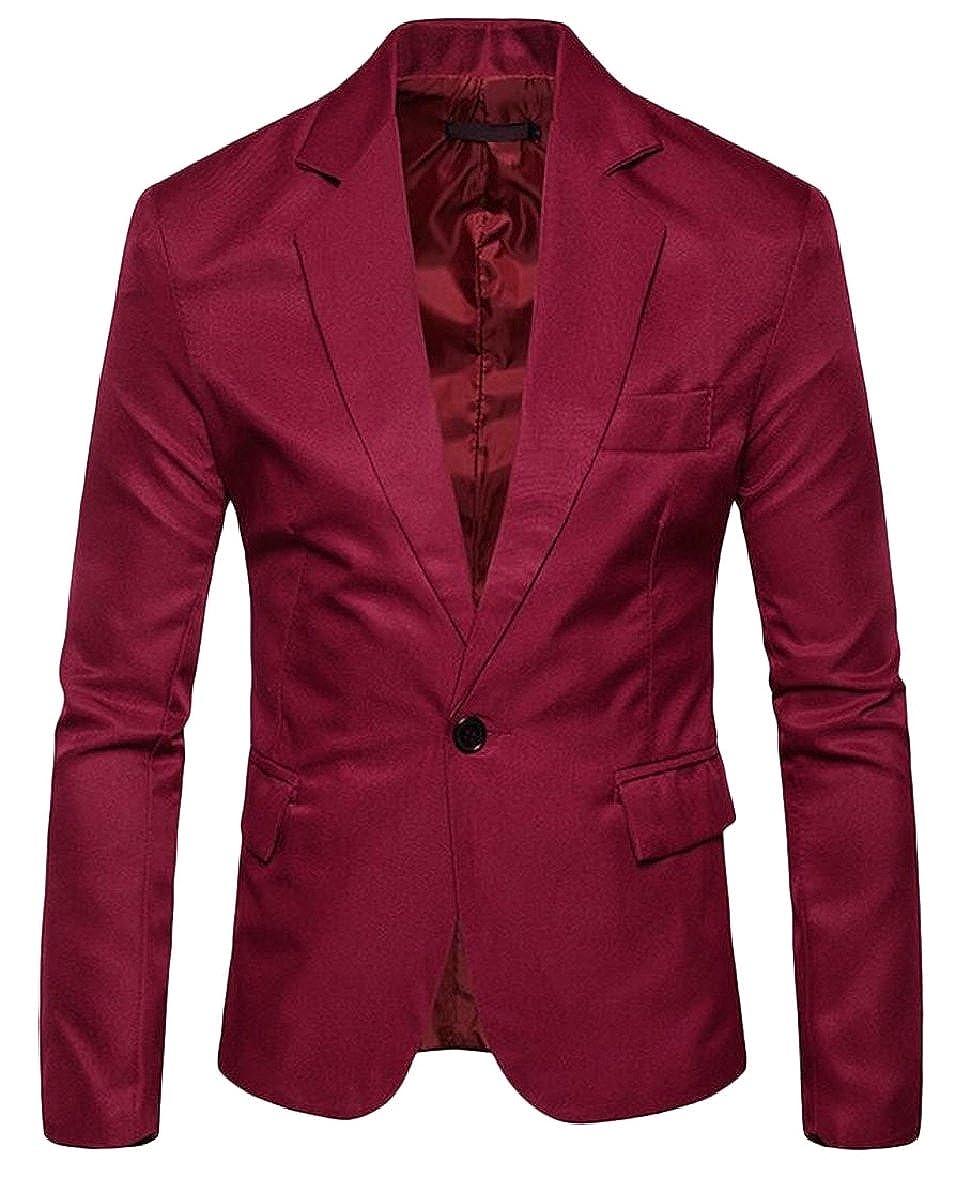 ONTBYB Mens Slim Suit One Button Suit Coat Casual Business Blazers Jacket
