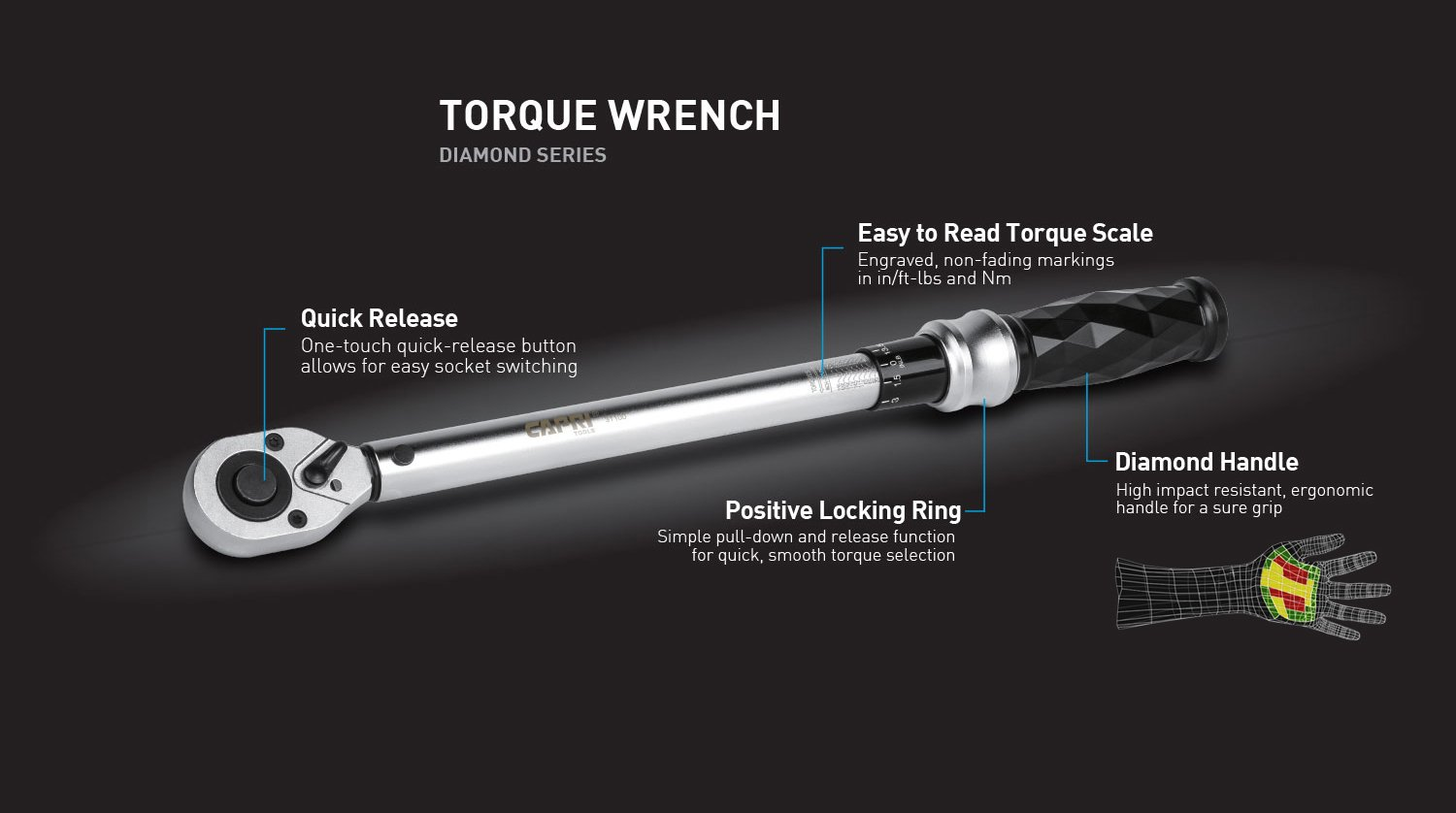 Capri Tools 3/8-in. Dr. Torque Wrench, 10-80 ft-lbs, Diamond Contour Ergonomic Grip by Capri Tools (Image #2)