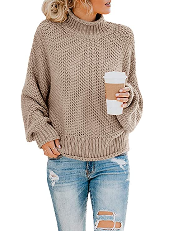Ashuai Womens Turtleneck Sweaters Oversized Chunky Batwing Long Sleeve Pullover Loose Knitted Jumper Top best women's turtlenecks