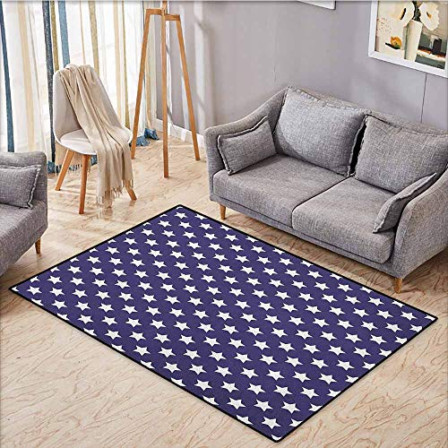 """Price comparison product image Skid-Resistant Rug, Navy, Bunch of Star Figures USA American Flag Symbol Proud National Graphic Design, Anti-Static,  Water-Repellent Rugs, 4'11""""x7'10"""" Purple White"""