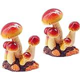 MUAMAX Fairy Mushroom Figurines 2 Packs Miniature Mushrooms for Fairy Garden Micro Landscape Ornaments Bonsai Craft…
