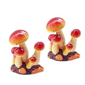MUAMAX Fairy Mushroom Figurines 2 Packs Miniature House Fairy Garden Micro Landscape Home Garden Decoration Plant Flower Pots Ornaments Bonsai Craft Decor (Orange, Small)