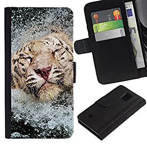 iKiki Tech / Cartera Funda Carcasa - Tiger Water Happy Swimming Africa Animal - Samsung Galaxy S5 Mini, SM-G800, NOT S5 REGULAR!