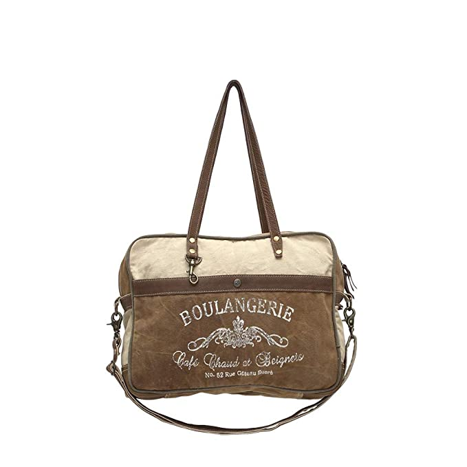 Myra Bags Boulangerie Upcycled Canvas Messenger Bag S-0964