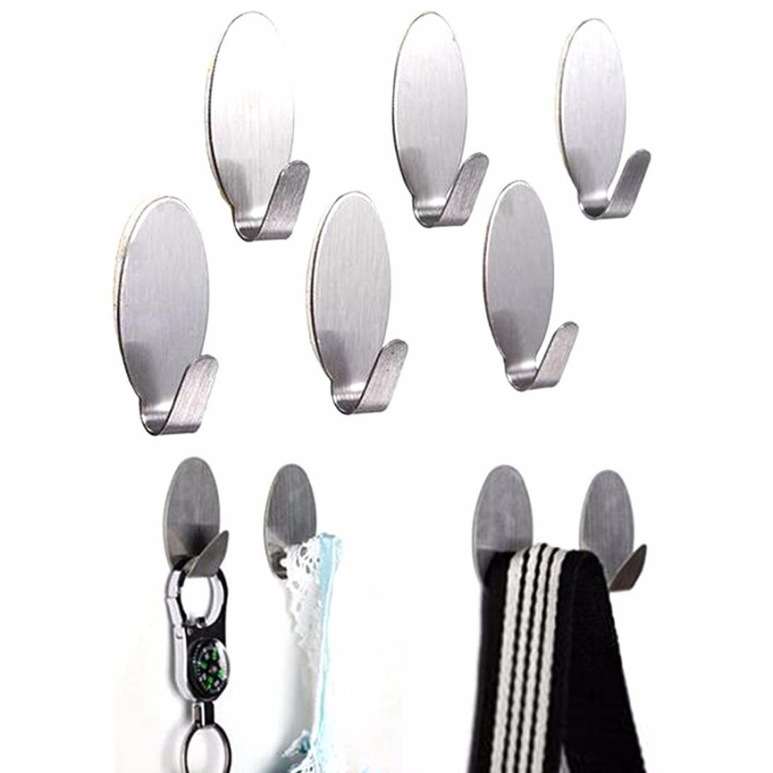 Adhesive Hooks, Ankola 6pcs Self Adhesive Heavy Duty Wall Hooks Stainless Steel Strong Waterproof Hanger for Robe, Coat, Towel, Keys, Bags, Home, Kitchen, Bathroom (Silver)