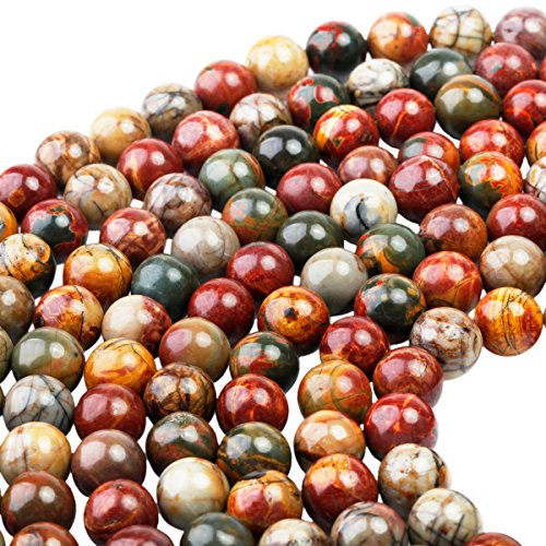 Picasso Bead Bracelet (SUNYIK Picasso Jasper Stone,Loose Bead for Jewelry Making 10mm 14