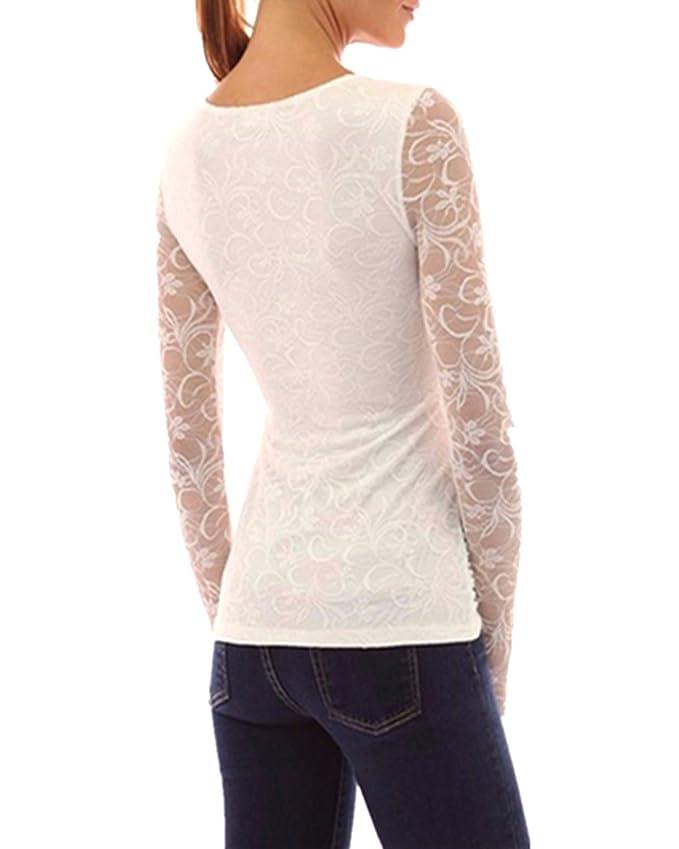 ZANZEA Blusa Camiseta Casual Elegante Oficina Verano Playa Encaje Cuello V Mangas Largas para Mujer Blanco EU 48: Amazon.es: Ropa y accesorios