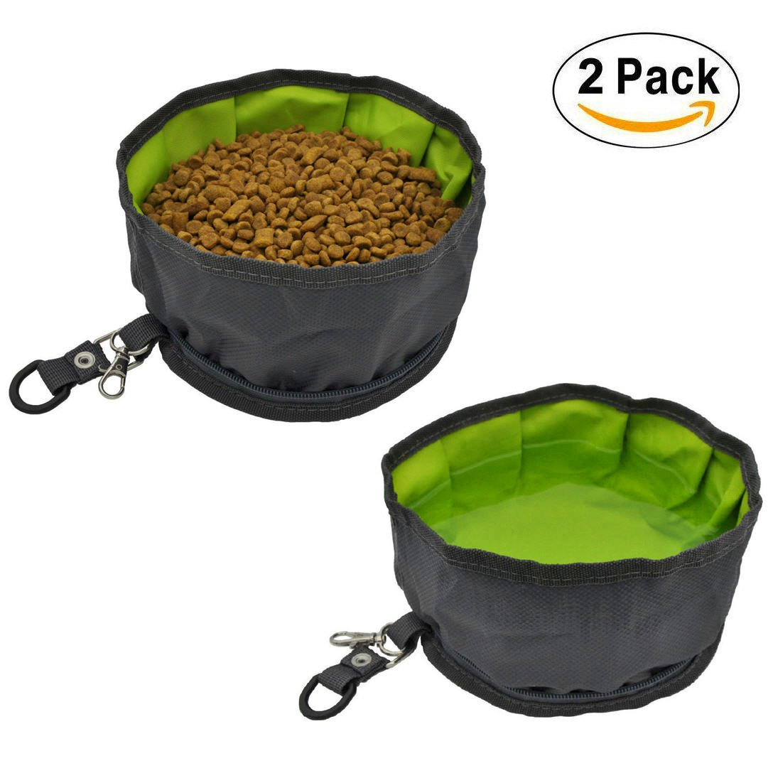 AYADA Pet Dog Collapsible Travel Bowls Oxford Fabric Waterproof Portable Foldable Food Water Bowl Zipper (2 Pack) - Gray