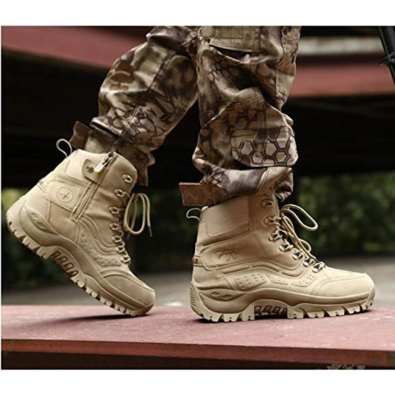 Amazon.com | Mens Boots Chelsea Outdoor Combat Boots Military Tactical Martin Non-Slip Ankle Boots Hiking | Chelsea
