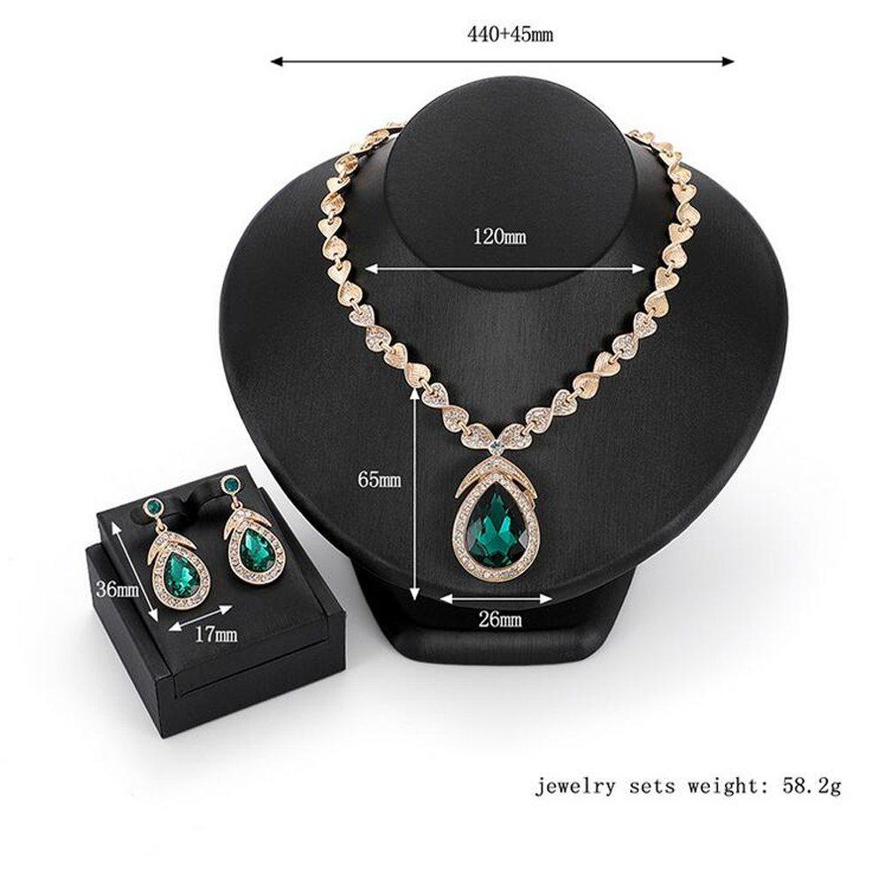 Womens Waterdrops Alloy Diamond Necklace Earrings Two Piece Set