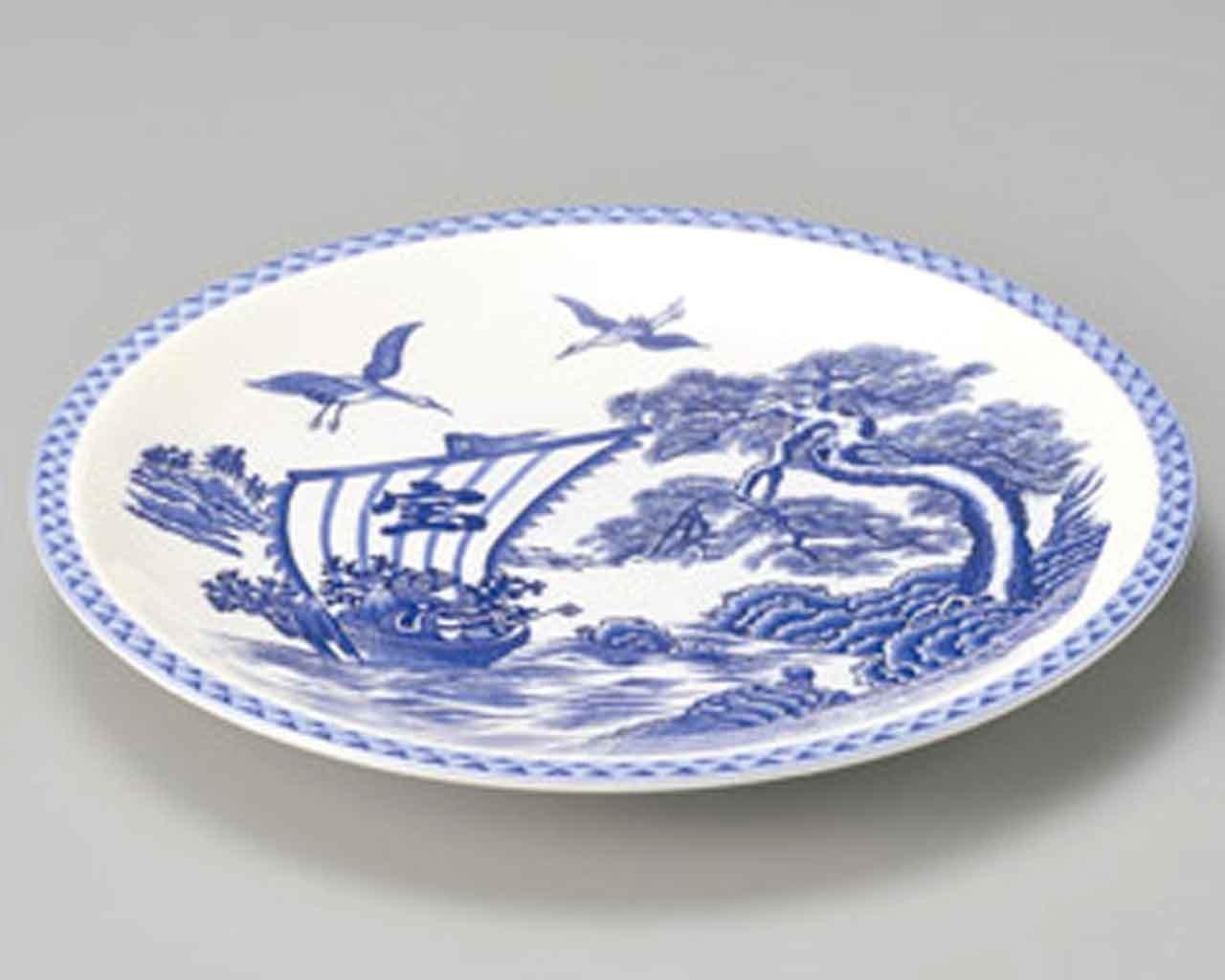 Teller Takarabune 32cm Sushiteller White Ceramic Japanisch traditionell Geschirr, Besteck & Gläser