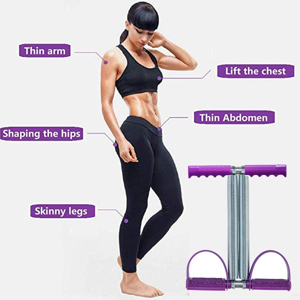 Maram Dual Spring Sit Up Pull Rope Elastic Tension Fitness Foot Pedal Sit Up Equipment for Abdominal Leg Exerciser Tummy Trimmer Sport Fitness Slimming Training Bodybuilding at Home Gym