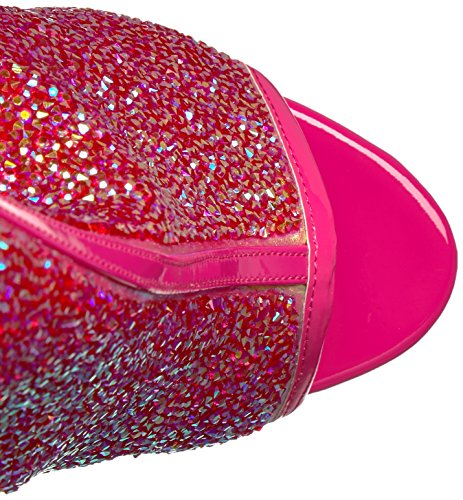 Pleaser DELIGHT-1018MS Damen Strass Plateau Stiefelette H. Pink -Iridescent RS/H. Pink Chrome