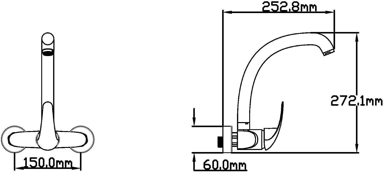 DP Grifería GCP150 Grifo monomando de pared alto Forma 150 Peonia ...