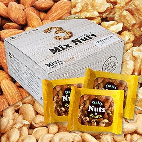 小分け3種 ミックスナッツ 1.05kg (35gx30袋) 1kgに50g増量 4月産地直輸入 さらに小分け 箱入り 無塩 無添加 食物油不使用 (アーモンド40% くるみ40% カシューナッツ20%)