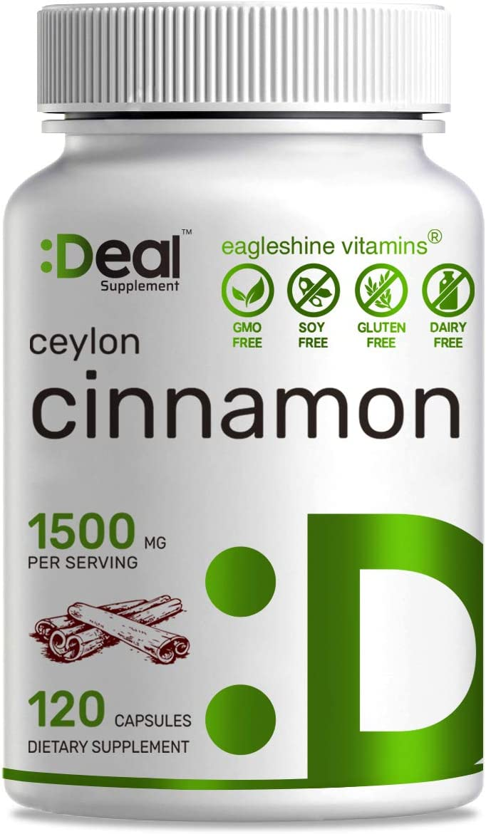 Deal Supplement Ceylon Cinnamon 1500mg Per Serving, 120 Count, Natural Blood Sugar Support, Promote Joint Health, Anti-inflammatory Antioxidant Supplement
