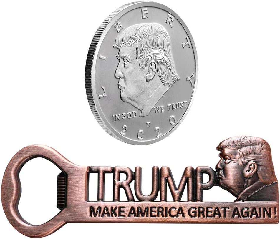 Donald Trump Fathers Day Gifts Make America Great Again Bottle Opener Magnet with Collectible Coin 2020