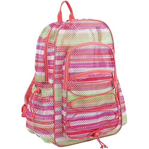 - Eastsport XL Semi-Transparent Mesh Backpack with Comfort Padded Straps and Bungee, Coral/Print Mesh