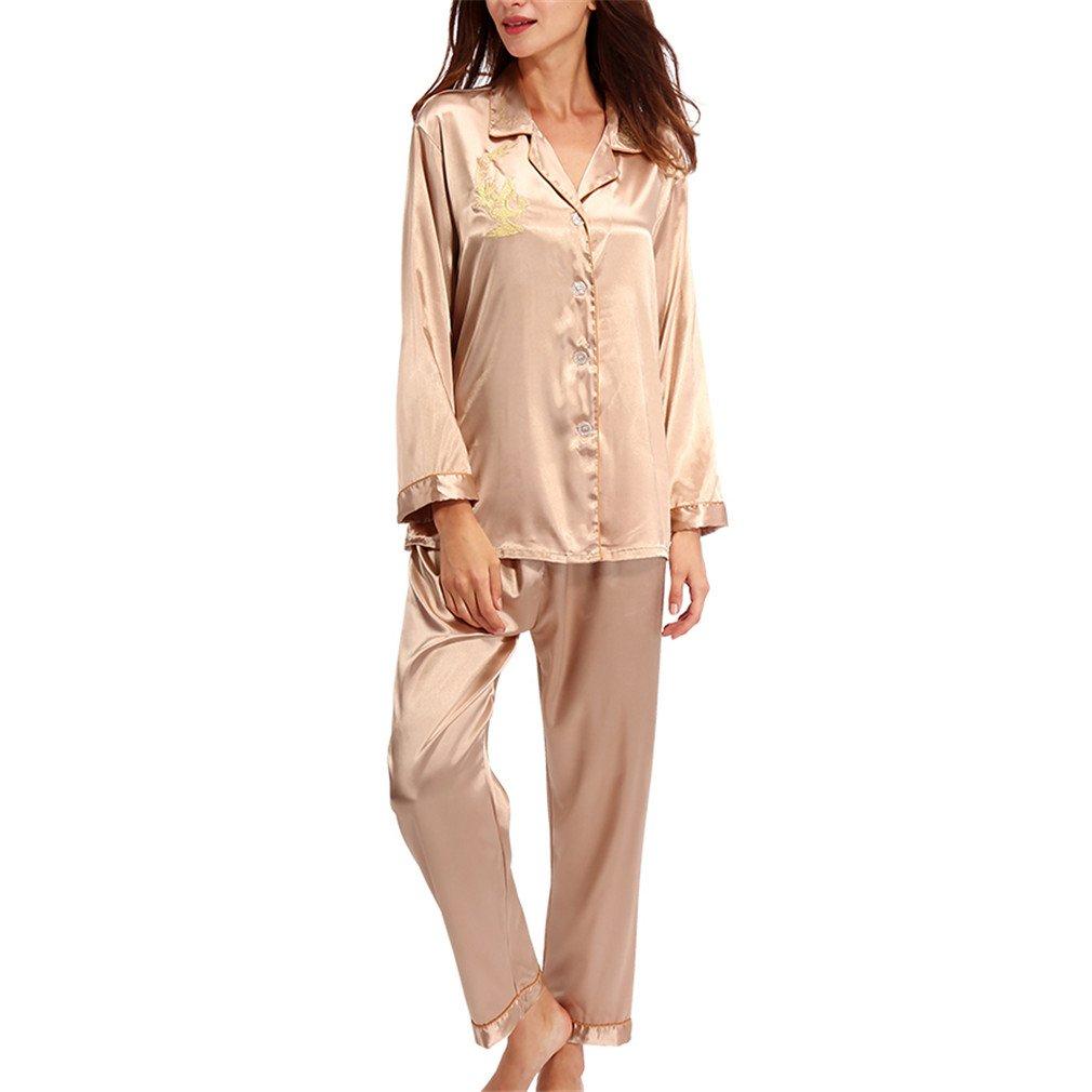 Pratnd Pajamas Women Long Sleeve Solid Pyjamas Men Love Sleepwear Womans Lounge Couples Pajama Sets Pijama Mujer Champagne L at Amazon Womens Clothing ...