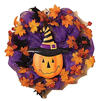 """22"""" Mesh Halloween Wreath with Metal Pumpkin And Witch's Hat Decoration"""
