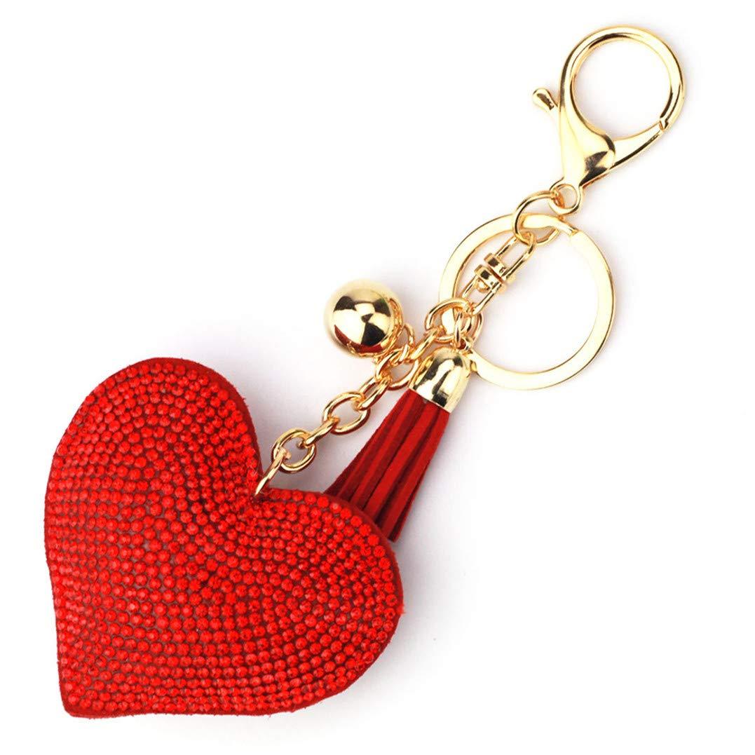 Underleaf Porte-clés, Pendentif clé de Voiture de Sac à Main de Pompon Rouge d'amour de Strass de Bling