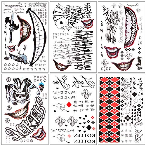 Joker And Quinn Costumes (6 Sheets Temporary Tattoos Joker and Harley Quinn Suicide Squad for Cosplay Costumes and)