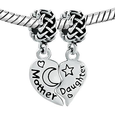 e586301ba Amazon.com: CharmSStory Heart Mom Love Mother Daughter Dangle Charm Beads  For Bracelets: Jewelry