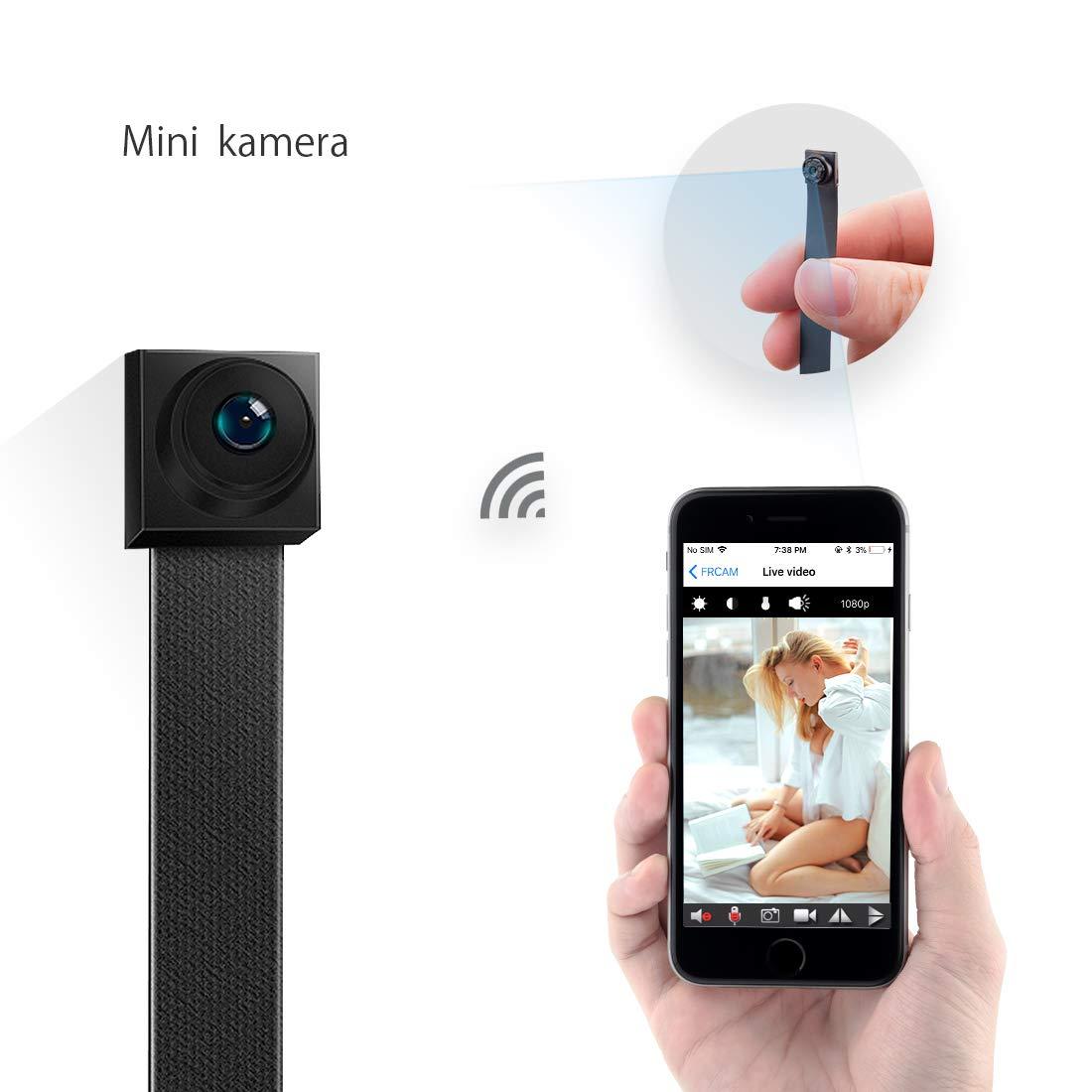 Mini Kamera, FREDI HD 1080P Mini Ü berwachungskamera Tragbare WLAN WiFi Netzwerk knopfkamera IP Kleine Kamera Bluetooth P2P Drathlos mit Bewegungsmelder/Mikrofon/Videoaufzeichnung/mit Handy ü bertragung
