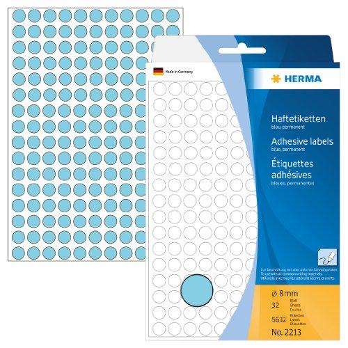 Herma 2213 Vielzwecketiketten (Ø 8 mm, rund Papier matt) 5632 Stück blau