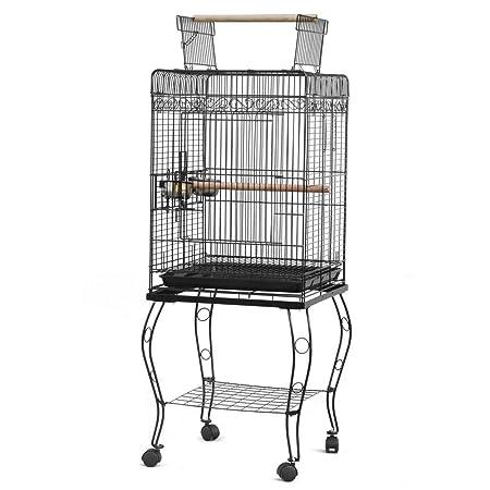 NOBLJX jaula para pájaros de metal con parte superior abierta con ...