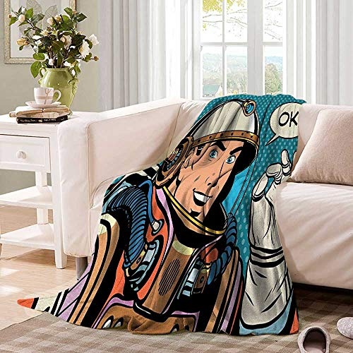 Astronauttravel blanketMiddle Aged Sapce Man Gesturing and Saying OK Speech Bubble Space Themed Catroonthrow Blanket for Couch 62