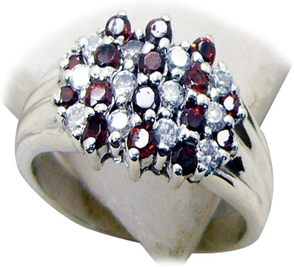 CaratYogi Fine Garnet Silver Statement Ring Round Shape Cluster Style Elegant Trending Design Size 5-12