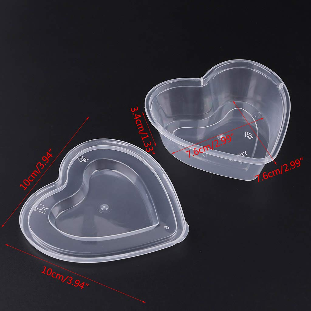 JUNESUN Heart Shape Clear Plastic Sauce Chutney Cups Food Container Slime Storage Box Case with Lid 120ml by JUNESUN (Image #7)