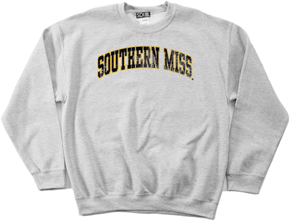 NCAA Southern Mississippi Golden Eagles 50//50 Blended 8-Ounce Vintage Arch Crewneck Sweatshirt