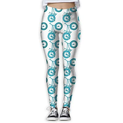 Womens Aqua Bicycles New Fashion GYM Sportswear Slim Casual Tie Waist Yoga Capris Printed Pants Personalized Casual Pants For Women Home & Outdoor
