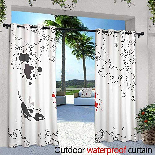 Lightly Exterior/Outside Curtains,Artistic Work of My own in Retro Style Postcard from Italy Double Bass Built in Brecia About,W108 x L84 Outdoor Patio Curtains Waterproof with Grommets