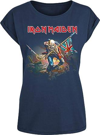 Iron Maiden Trooper Mujer Camiseta Azul Marino, Regular ...
