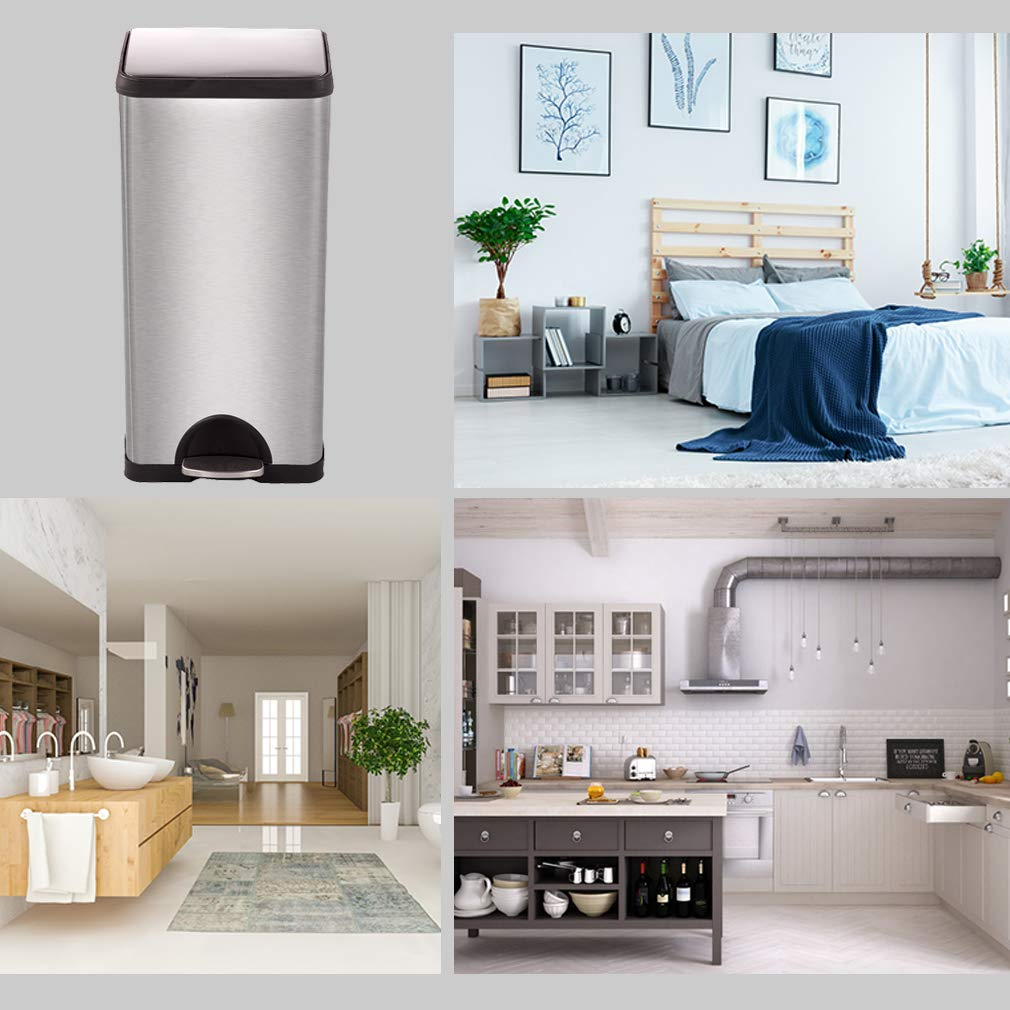 Metal Trash can Step Trash can Stainless Steel Trash can with Removable Inner lid for Home Kitchen Bathroom Office 10 Gallon / 30L by BestMassage (Image #6)