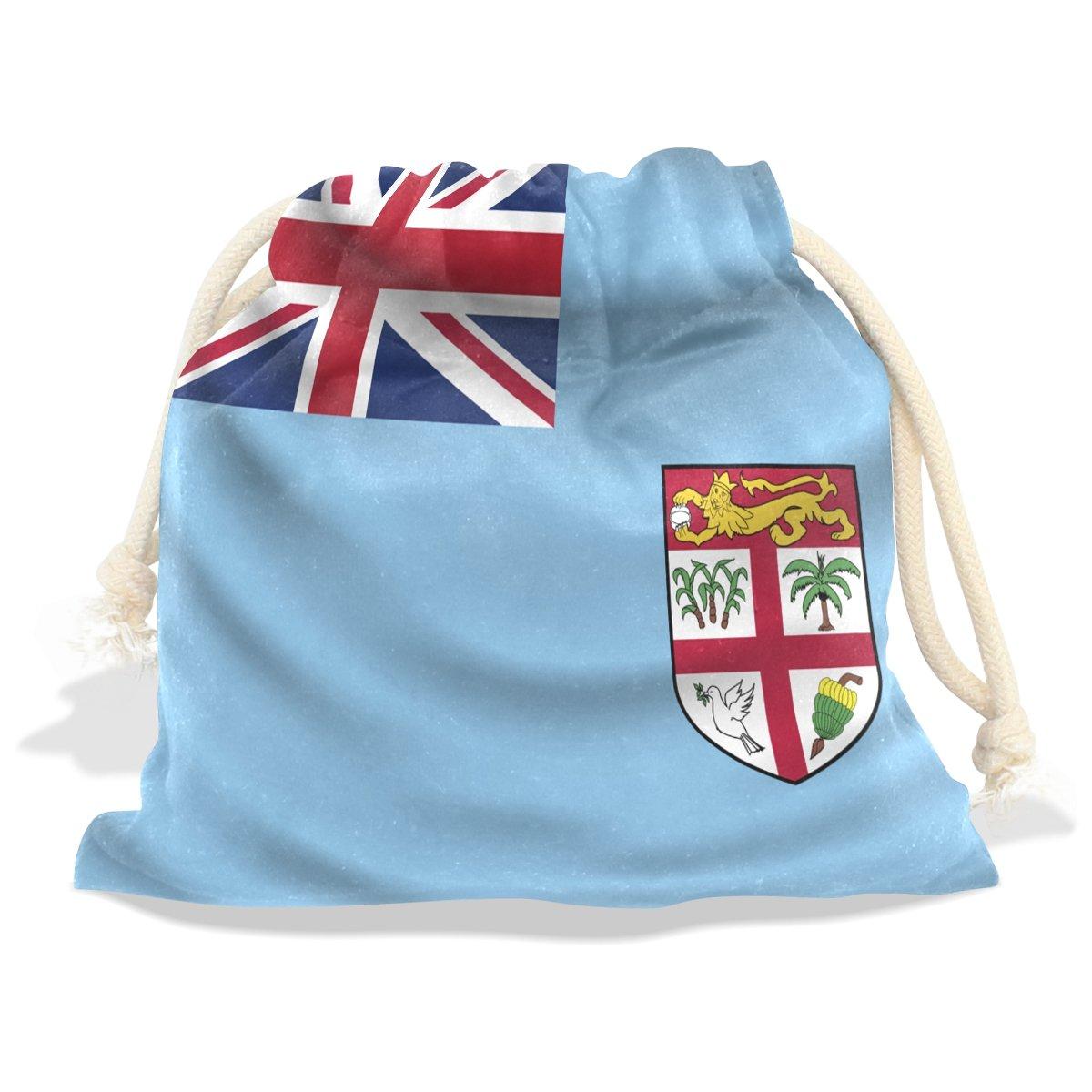 super3Dprinted Fiji Flag Velvet Drawstring Gift Bag Wrap Present Pouch Favor for Party Game Wedding, Multiple Sizes Available