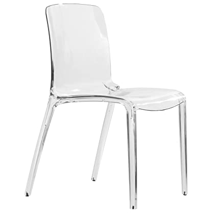 LeisureMod Murray Modern Dining Chair, Clear