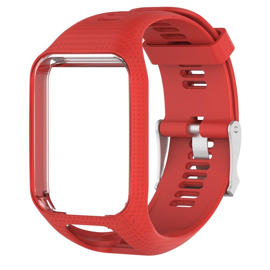 Betterm時計バンドシリコン交換リストバンドストラップfor TomTom Runner 2 3 Spark 3 GPS Watch  レッド B075B4MF67